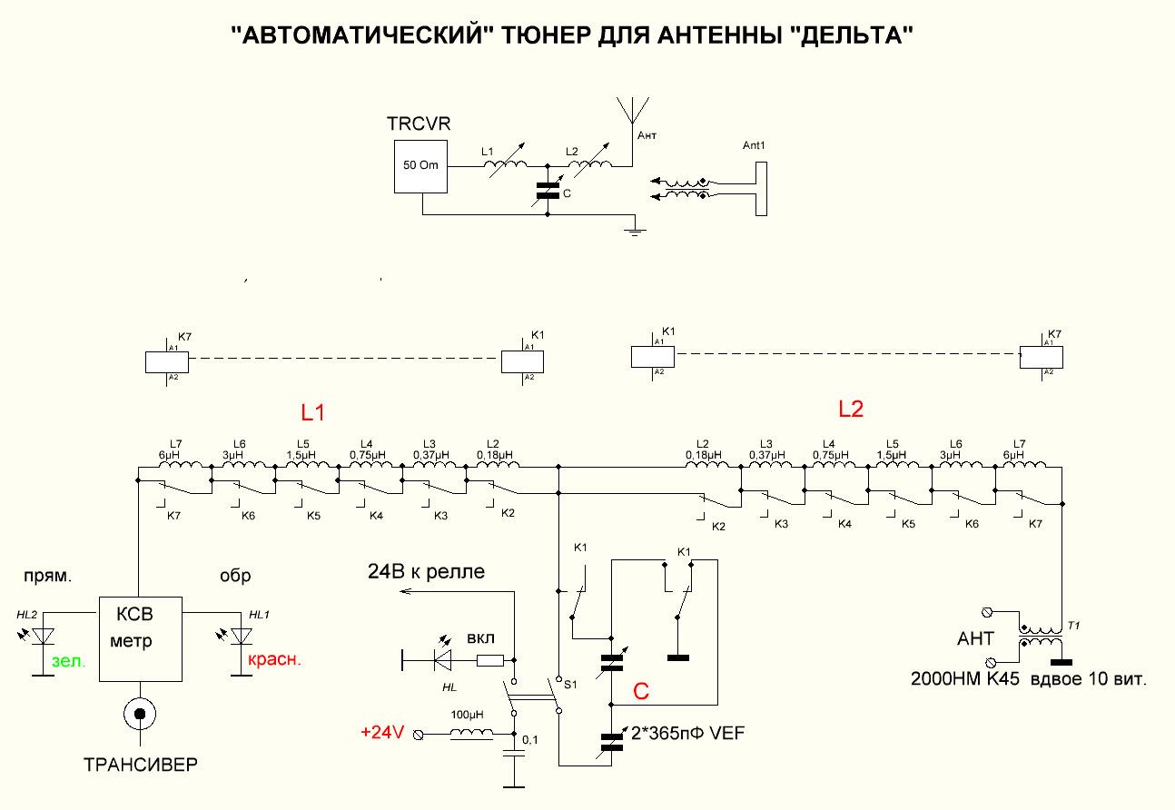 Схема согласующего устройства на кв диапазон